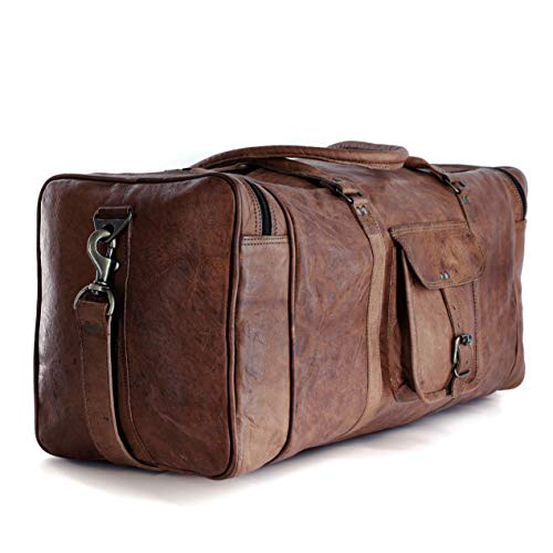 Leather duffel bag large 24 Inch Square Duffel Travel Gym Sports Overnight Weekender Leather Bag for men and women by Komal's Passion Leather