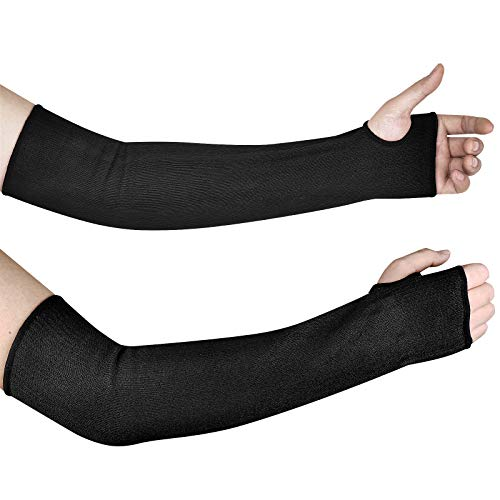 DEYAN Cut Resistant Sleeves, Level 5 Arm Protection Sleeves with Thumb Hole, 18 inch Extra Long Arm Protectors, Slash Resistant Safety Arm Guard for Garden Farm Yard Working, 1 Pair (Black)