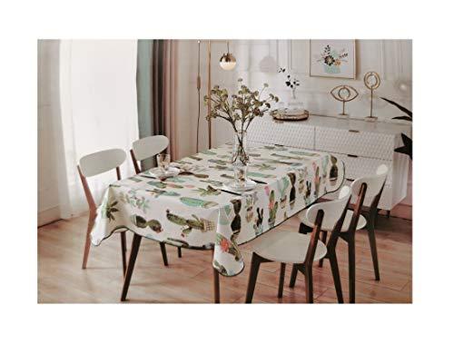Mantel Hule PVC Diseño Marinero- Impermeable - Uso Interior y Exterior - Original 100% - Motivo Cactus - Antideslizante - Borde Ribeteado (Cuadrado 120x120)