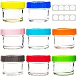 Youngever Glass Baby Food Storage, 4 Ounce Baby Food Glass Containers with Airtight Lids, 8 Assorted Colors, with Laminated Waterproof Lid Labels (8 Pack Containers)