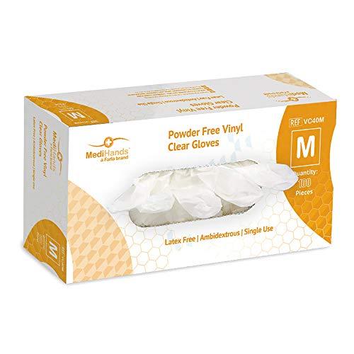 MediHands Lot de 100 gants en vinyle transparent sans poudre pour aliments, jetables, sans latex, moyen
