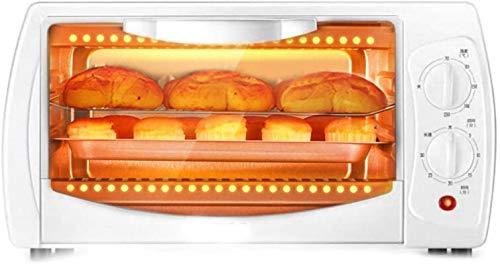 HOGAR PEQUEÑO MINI-HORNO 10L HORNA, Material de metal blanco 70-230 ° 30 Min Temporizador, Puerta de vidrio Mini horno con bandeja para hornear Ideal para asar, 220V