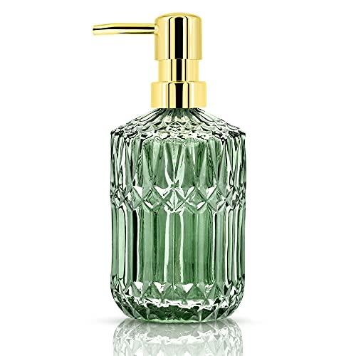 JTOOYS Dispensador de jabón de cristal, 400 ml, líquido de manos rellenable, detergente para platos, botella de loción de champú con bomba para baño, cocina, lavadero (verde)