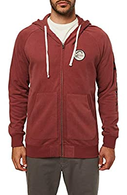 O'NEILL Men's Classic Full Zip Front Sweatshirt Hoodie (Burgundy/Heritage, XL) by O'Neill