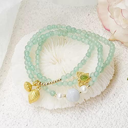 QiuYueShangMao Verano étnico 3 círculos Verde Jade Perlas de Agua Dulce Naturales Pulseras con Cuentas para Mujeres Accesorios de joyería Fina joyería de la Amistad