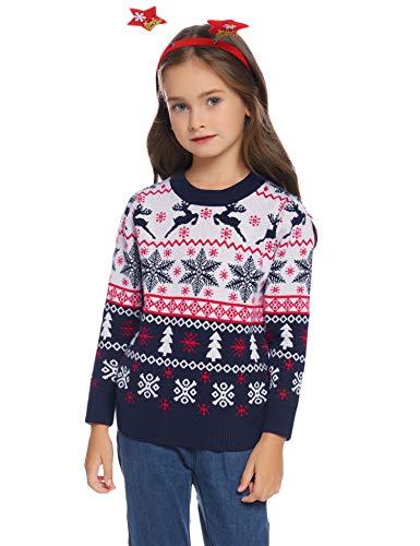 Hawiton Maglione Natalizio Bambino, Retro Manica Lunga Renna Pullover Maglione di Natale Bambino Maglieria Inverno