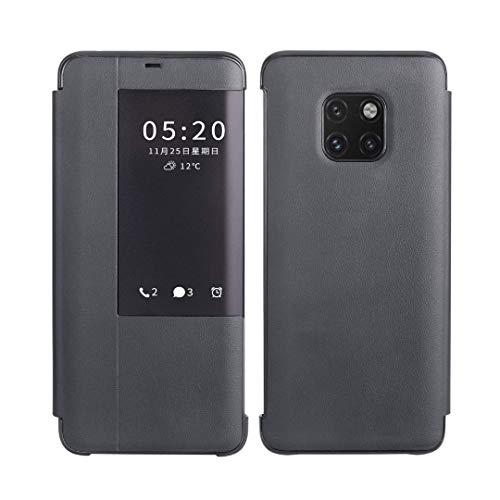 SevenPanda Huawei Mate 20 Hülle, Echtes Leder Flip Abdeckung Fenster Ansicht Automatische Schlaf Wakeup Smart Flip Ständer Tasche Hülle für Hua wei Mate 20 (Schwarz, Huawei Mate 20)