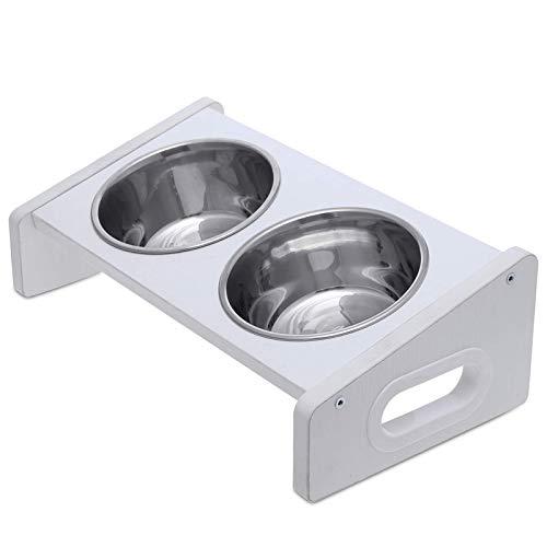 Domipet Raised Bowl Hund Katzentiere Doppelschale für Hunde Katzen Futterspender INOX Trinkständer Rutschfester Fuß Stark Robust Hochwertig, Edelstahl und Holz, 2 in 1