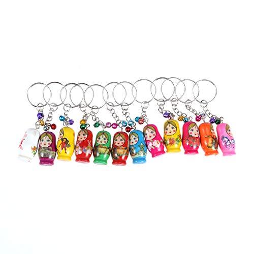 Supvox 12 stücke kreative Nesting doll schlüsselanhänger Holz russische Puppen schlüsselanhänger mit Glocke 3 4 x 1 7 x 1 7 cm Holz russische Puppen (zufälliges Muster)