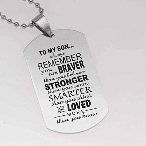 WYDSFWL Collar Nuevo para mi Hijo, Estilo Militar, Etiqueta de Perro, Colgante de Acero Inoxidable, Collar para Hombre, Collar