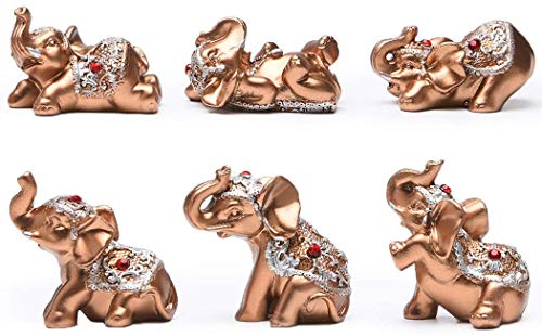 Husdeco Silver Resin Small Elephants Statues Home Decor Collection Gift Set of 6 (Gold)