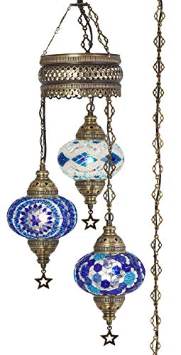 Demmex 2019 Turkish Moroccan Mosaic Hard-Wired OR Swag Plug in Chandelier with 15feet Cord Cable Chain & 3 Big Globes (Blues) (Blues (Plug in))