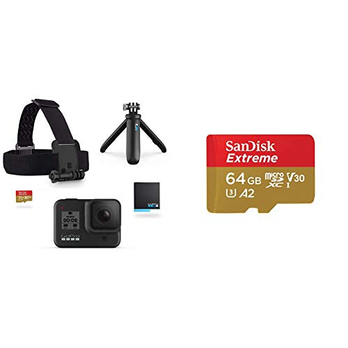 GoPro Kit HERO8 Black - Incluye Shorty, Correa para la Cabeza + SanDisk Extreme - Tarjeta de Memoria microSDXC de 64 GB con Adaptador SD