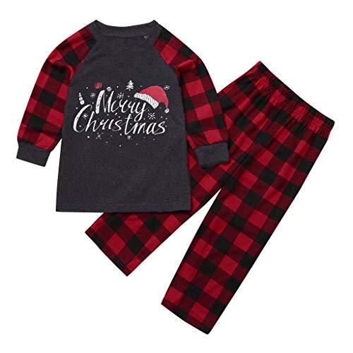 Shirt Luv Merry Matching Pajamas Christmas Pajamas , Christmas Children Letter Plaid Print Top Blouse+Pants Family Clothes Pajamas