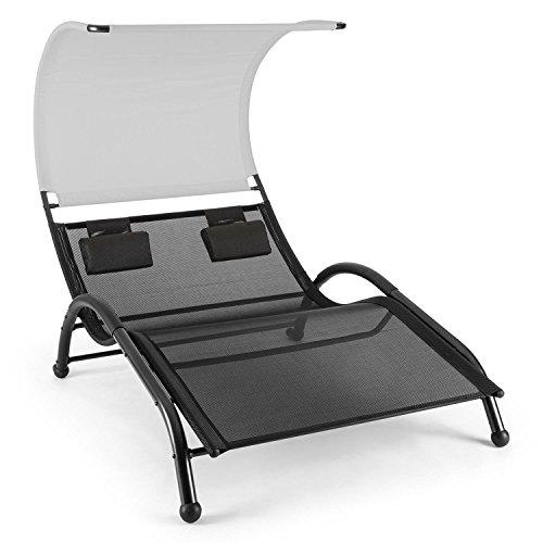 blumfeldt Dandyland - tuinligstoel, relaxligstoel, ligstoel, zonnekap, voor 2 personen, extra brede ligplaats 130x200 cm, ergonomisch, polyester gaas, max. 200 kg, zwartgrijs