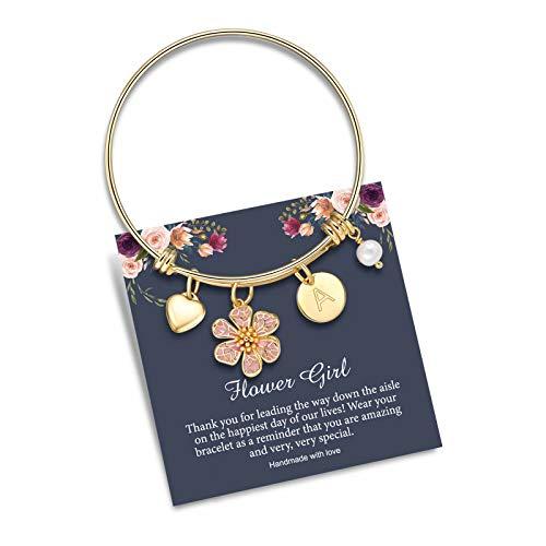 Initial Bracelet Flower Girl Gifts, 14K Gold Plated Stainless Steel Letter A Bracelet Expandable Charms Bangle Bracelets for Girls