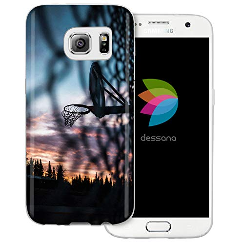 dessana Basketball transparente Schutzhülle Handy Case Cover Tasche für Samsung Galaxy S7 Trainigsplatz