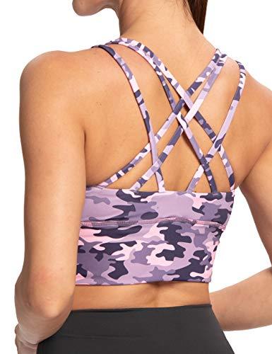 IOJBKI Sports Bras for Women Padded Strappy Sports Bra Medium Support Workout Running Yoga Bra (Pink-Purple-Camouflage-M)