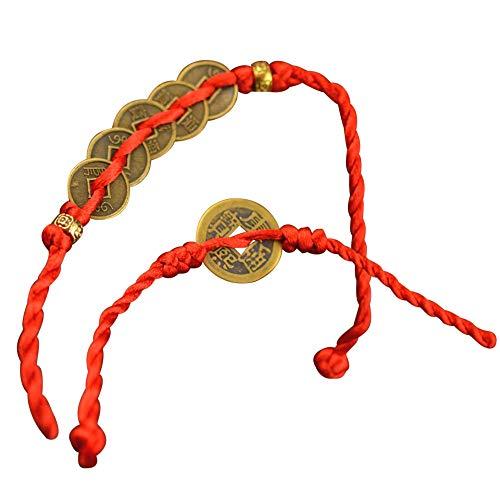 Pulsera Mujer Chica 2 Unids Pulseras de Cadena roja Monedas de Cobre de la Suerte Colgante del Brazalete de Riqueza del Feng Shui Chino para Amor Aniversario Boda