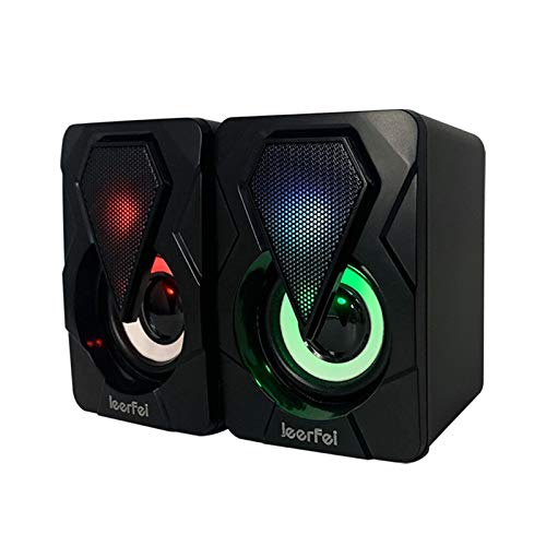 TONGHUA Computer Speakers, PC Speakers with Light, USB Powered Stereo Speakers with 3.5mm Aux for Phone Tablets Desktop Laptop