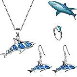 Speichern Sie eine Hai-Halskette, Hai-Angelhaken-Ohrringe Ocean Creature Jewelry Set Ideales Geschenk für Mädchen (Ein Set)