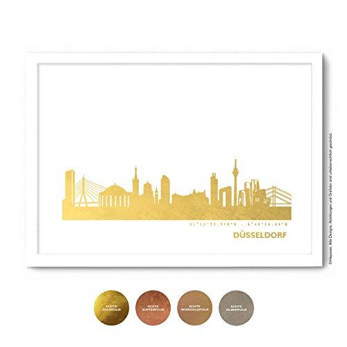 Düsseldorf Skyline Bild Wandeko, Personalisierte Geschenkidee für Besondere Anlässe in S/W Rose Gold Silber Kupfer - Pesönlicher Text & Rahmen A4/A3
