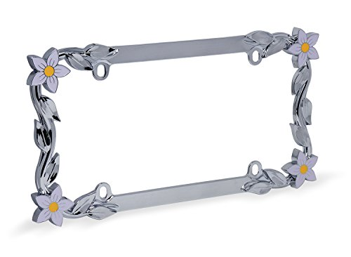 Cruiser Accessories 19130 Daisy License Plate Frame, Chrome/Painted