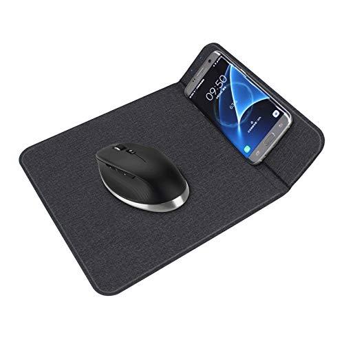 XuuSHA Cargador inalámbrico Qi Alfombrilla de ratón, 2 en 1 tapete de Carga Durable Estable Portátil Portátil Cartamera inalámbrica incorporada Cable USB