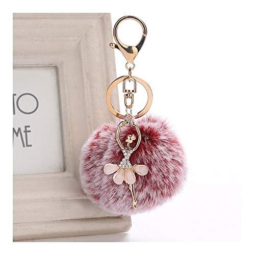 xjS Kkey Chain Keychains Cute Rhinestone Little Angel Car Keychain Fake Fur Key Chain Women Trinket Car Bag Key Ring Jewelry Gift Fluff Keychains Unique (Color : YSQ Q002 21 Red wine)