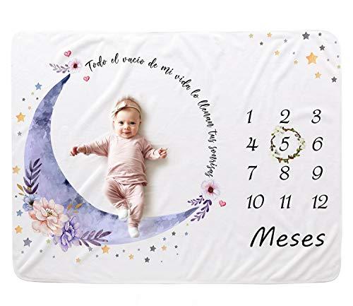 Couxily Manta Meses Bebe , Manta Mensual Bebe , Manta Bebe Meses Regalos Bebes Manta Fotografia Bebe , Regalo Bebe Recien Nacido Niña , Manta Meses Bebe Español (Luna)