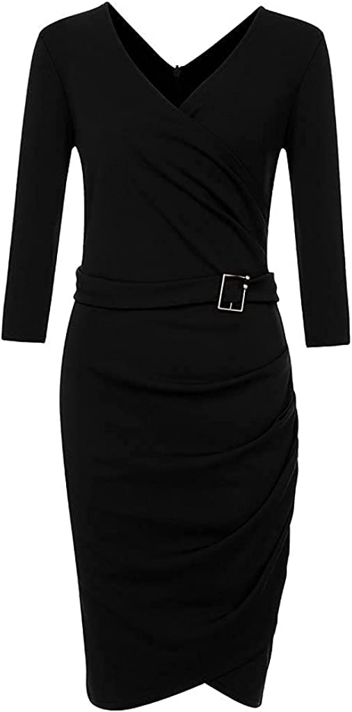 RUIY Women Sexy Solid Bodycon Stretchy Pleated Wrap Pencil Midi V Neck Long Sleeve Casual Formal Dress Business Suiting