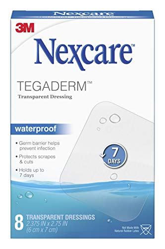 Nexcare Tegaderm Waterproof Transparent Dressing, The #1 Hospital Brand, Provides protection to minor burns, cuts, blisters and abrasions, 8 Ct, 2-3/8 In X 2-3/4 In