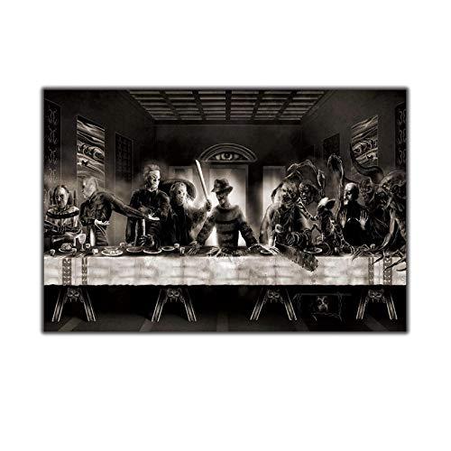 ASLKUYT La última cena Freddy vs Jason Horror Movie Art Canvas Poster Wall Deco Print Modern Pictures-24x36 IN Sin marco