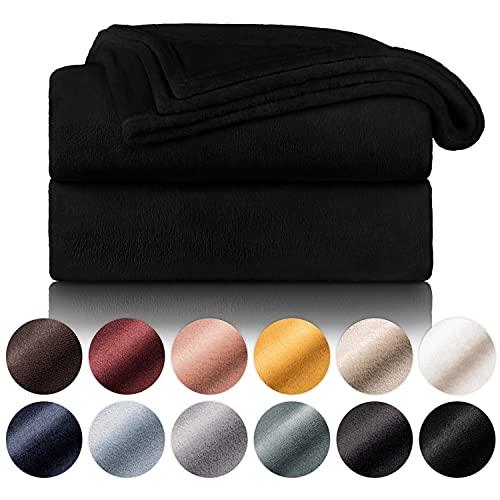Blumtal Flauschige Kuscheldecke – hochwertige Wohndecke, super weiche Fleecedecke als Sofaüberwurf, Tagesdecke oder Wohnzimmerdecke, 150 x 200 cm, Schwarz