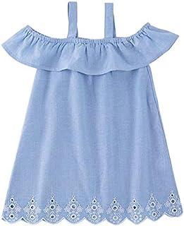 b2e9c3d7e09 Fiaya Mommy and Me Baby Girls Denim Ruffles Bodysuit One Off Shoulder  Romper Dresses Family Matching