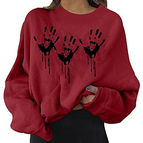 Alueeu Sudadera Mujer Moda Halloween Manga Larga Talla Grande Cuello Redondo Jersey Otoñn Primavera Blusa Suéter Estampado Calabaza Tops Suelto 2021
