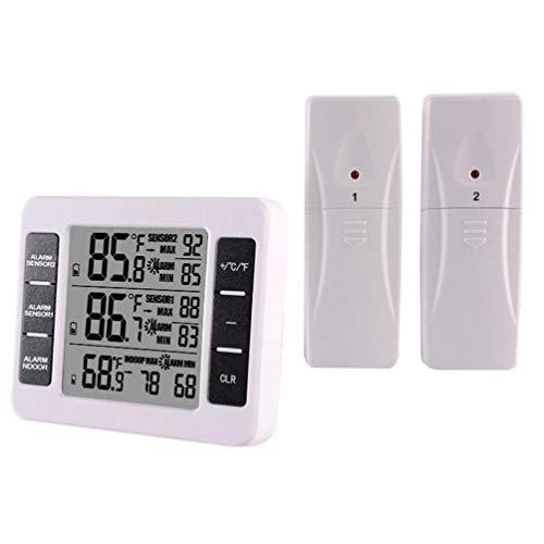 Hemoton Termómetro para Refrigerador con 2 Sensores Termómetro Digital Inalámbrico para Congelador Alarma Sonora Pantalla LCD Grande para Exteriores para El Hogar Restaurantes...