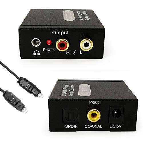 Incutex Audio converter converter digitaal (Toslink en coaxiaal) naar analoge (Cinch) audioconverter decoder met voeding DAC zu Cinch/Klinke