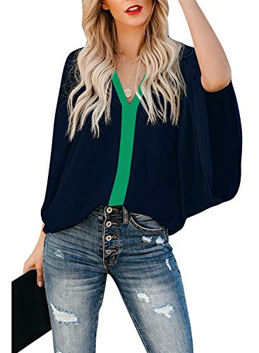 AlvaQ Women Summer Color Block V Neck Chiffon Tops Loose Casual Bat Wing Short Sleeve Shirts Blouses Blue Large
