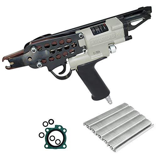 Woodpecker C-7EA Kit de pistola de grapas neumática de anillo de cerdo de calibre 15, corona de 3/4 pulgadas, grapadora de anillo en C de nariz larga Air Power para cercas, colchón de muelles, jaulas