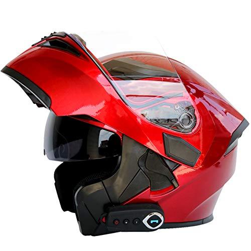 Casco Moto Bluetooth Integrado Con Visera Solar Doble Casco Moto Integral...
