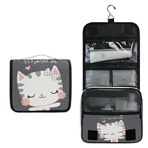 ALARGE - Bolsa de aseo colgante para mujer, diseño de gato