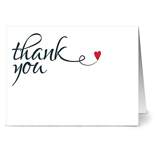 Note Card Cafe Thank You Cards with Red Envelopes | 36 Pack | Heart Felt Thank You | Blank Inside, Glossy Finish | for Greeting Cards, Occasions, Birthdays, Gifts