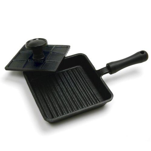 Norpro Mini Cast Iron Panini Pan with Press, 5.9 IN, As Shown