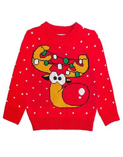 Shirtgeil Weihnachtspullover Kinder Mädchen Jungen Rudolph Rentier Pullover 104 Rot