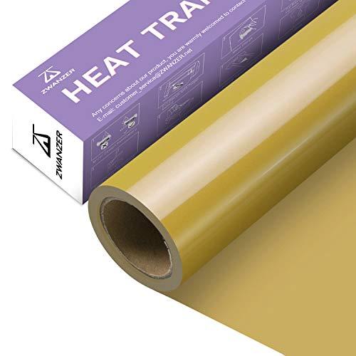 Zwanzer Plotterfolie Textil,30.5cm× 3.66m Flexfolie für Cricut und Silhouette Cameo,Verwendet in DIY-T-Shirt-Kleidung und Anderen Stoffen (Gold)
