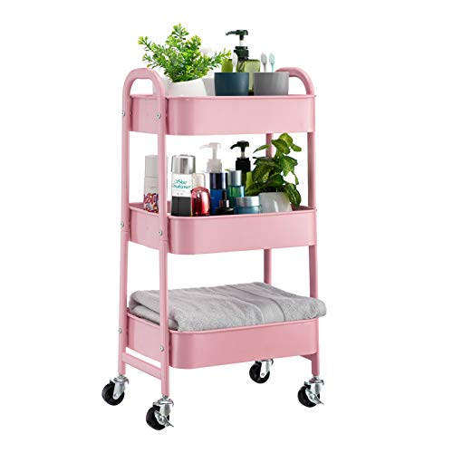 BEJOY Storage Trolley Rolling Cart 3-Tier Storage Rack Metal Utility Shelves with Wheels and Handles for Kitchen Makeup Bathroom Office, Pink