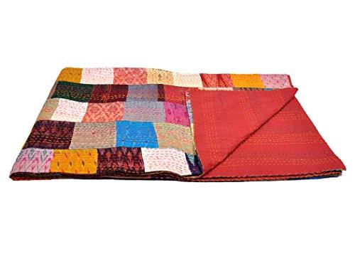 rawyal-queen size Silk Sari Patola patch work Reversible kantha Quilt, Indian Sari Quilt, Recycled Craft, Vintage kantha throw, Indian Handmade Gudri coprille