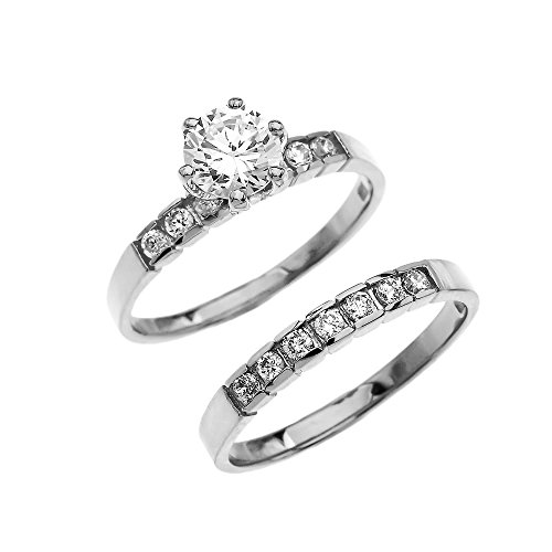 White 9 ct Gold Channel Set Diamond Engagement and Wedding Ring Set with 1 Carat White Topaz Center Stone CII