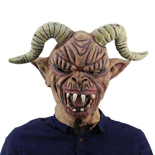 QQA Mscara de Diablo Cornudo Mascarada de Animales Fiesta de Halloween Mscara de Cabeza de Cabra Casa Embrujada Accesorios Novedosos